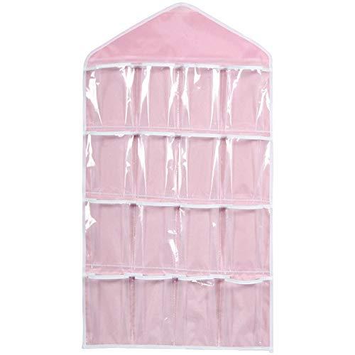 GBX Poche Transparente Sac de Rangement Sac de Rangement suspendu chaussettes Soutien-Gorge Sous-vêtements cintre cintre Sac de RangementRose