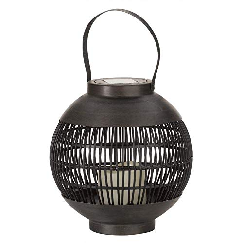 Smart Garden Outdoor Garden Solar Como Lantern with Flickering Candle LED | Hanging or Tabletop Lantern | Faux Rattan Effect | Beautifully Illuminates at Dusk