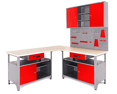 Ondis24 Werkstatt Set Ecklösung Classic One, Werkbank, Werkzeugschrank, Werkzeugwand Lochwand, Haken Set, Metall (Arbeitshöhe 85 cm, rot)