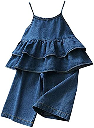 Caopixx 2Pcs Toddler Baby Girl Summer Outfits Ruffle T-Shirt + Casual Jeans Denim Pants Sets