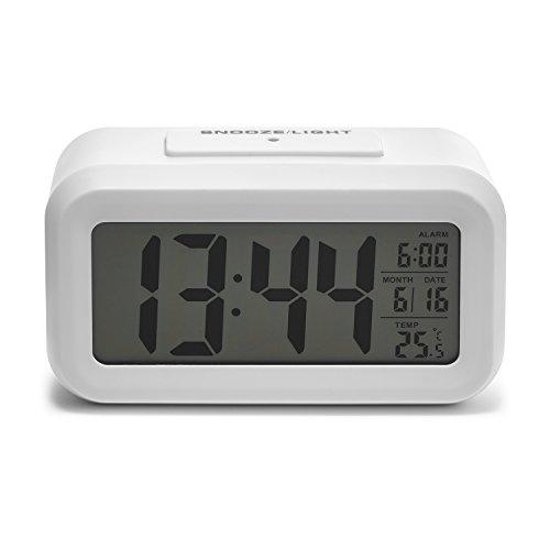 iProtect batteriebetriebener Digital-Wecker mit extra großem Display, Snooze, Datumsanzeige, Temperatur und Lichtsensor in Einhorn