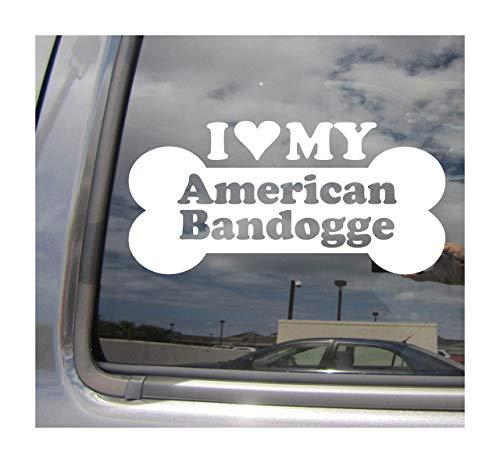 Lplpol I Heart Love My American Bandogge Dog Bone Bandog Mix Hybrid Raza Coches Camiones Casco duro Surfboard Monopatín Auto Automoción Portátil Vinilo Adhesivo de pared para ventana de tienda 6 pulgadas