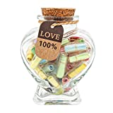 Cute thing capsule design - Each glass wishing bottle has 45pcs capsule notes with hearts. Capsule secret note - A blank piece of paper inside the pill, you can write whatever you would like on it. The best gift - Gifts for boyfriend/girlfriend .If y...