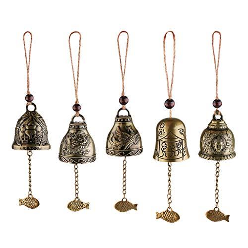 Sharplace 5pcs Chinesische Antike Klangspiele Windspiele, Garten Fengshui Glocke | Vintage Drache/Fisch/Phönix/Buddhastatue Windspiele für Glück
