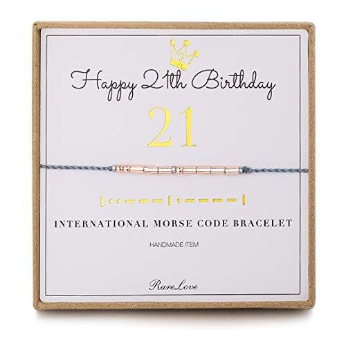 Happy 21st Birthday Gifts 21 Morse Code Bracelet For 21st Year Old Women Girls Daughter Friends Rose Golden Beads Grey String Friendship Bracelets