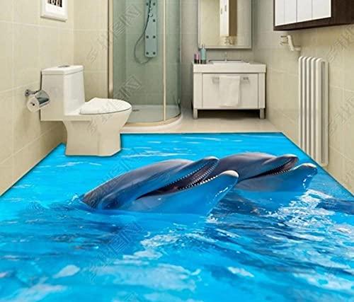Papel pintado Dolphin 3D Estéreo Baño Azulejo de piso Pintura decorativa-200 * 140cm