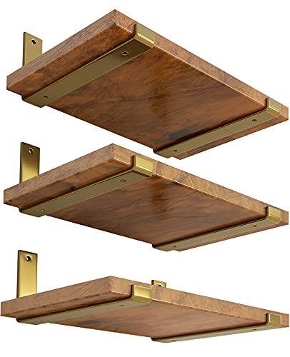 LEOPO 12 inch Shelf Bracket for DIY Floating Shelf, 1/5 inch Thick Heavy Duty Bracket, 6 Pack, Golden