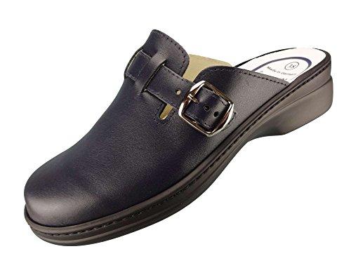 Algemare Damen Clog Nappaleder 'Ozean' mit waschbarem Sani-pur Wechselfußbett Pantolette 5922_8080 Sandalette, Größe:37 EU