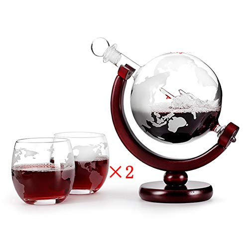 Cestbon Whiskykaraffe Globus Segelschiff Mit Weltkarte - Zwei Whiskygläser Tumbler Mit Gravur Motiv Weltkarte - Whisky-Flasche Weltkugel Dekanter Aus Glas 800Ml,Clear