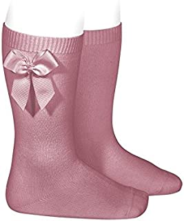 Calcetines altos lisos de color rosa tamarisco con lazo lateral, de Cóndor