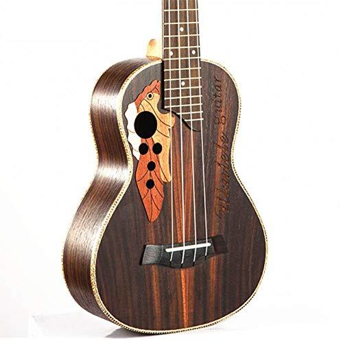 QLJ08 23 pulgadas Mini guitarra 4 cuerdas Ukelele Rosewood Body Grape Sound Hole Ukelele eléctrico con ecualizador de recolección