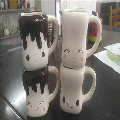 TUOLUO Keramik Marshmallow Geformte Heiße Schokolade Tasse Lächeln Ausdruck Tasse Tasse Blumentopf Vierteiliges Set 101-200 ml/Ohne Ohr