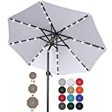 Sombrillas LED para patio de 9 pies con luces 32 LED, inclinación y manivela para jardín, cubierta, patio trasero y piscina, 12 colores (gris claro)