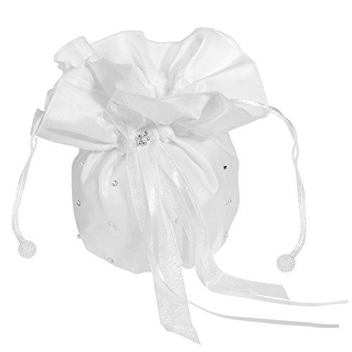 ULTNICE Hochzeit Satin Dolly Tasche Brauttasche Handtasche Brautbeutel mit Perlen