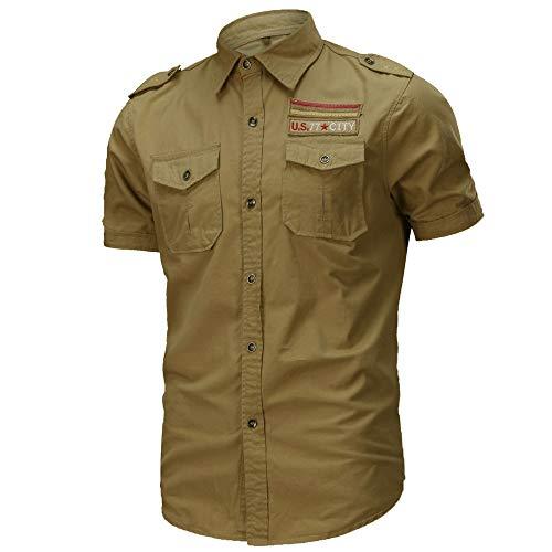 JINSHI Uomo Camicia Casual Militare Estiva Shirt Manica Corta di Cotone Cachi Medium