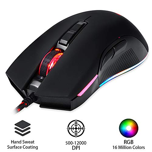 Motospeed V70 RGB Gaming Mouse 12000 DPI Computer Mouse Gamer Wired Optical for PUBG PK V30 V40 (1 Piece, Black)