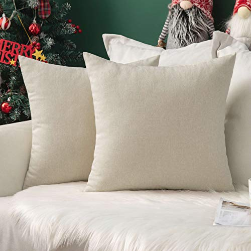 MIULEE Pack of 2 Christmas Faux Linen Square Throw Pillow Case Cushion Covers Home for Xmas Sofa Chair Couch/Bedroom Livingroom Decorative Home Decor Pillowcases 20x20 Inch 50x50cm Cream