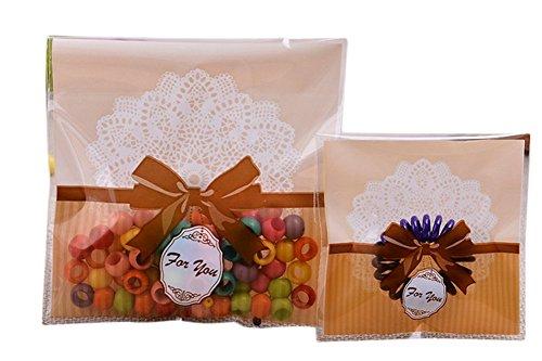 Cosanter 100 Pièces Mignon Nœud Papillon Pochette De Bonbons Dentelle Sacs de Cuisson sac d'emballage pour Bonbons Pains Chocolats et Gelées