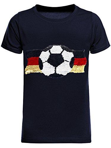 BEZLIT Deutschland Jungen Kinder Wende-Pailletten Fussball WM 2018 Fan T Shirt 22513 Navy Größe 116