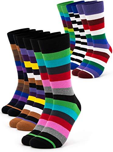 Occulto 6 Paar bunte Herren Socken in verschiedenen Mustern | Farbige Herrensocken aus Baumwolle in verschiedenen Farben mit Streifen, Punkten, kariert uvm. (39-42, 6 Paar | Strips)