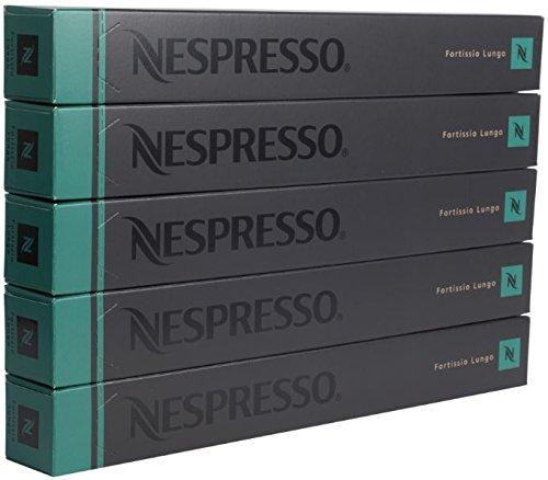 Nespresso - Fortissio - Nuevas y originales cápsulas de café Lungo, sabor intenso, 50 cápsulas (5 mangas), fecha de caducidad muy amplia