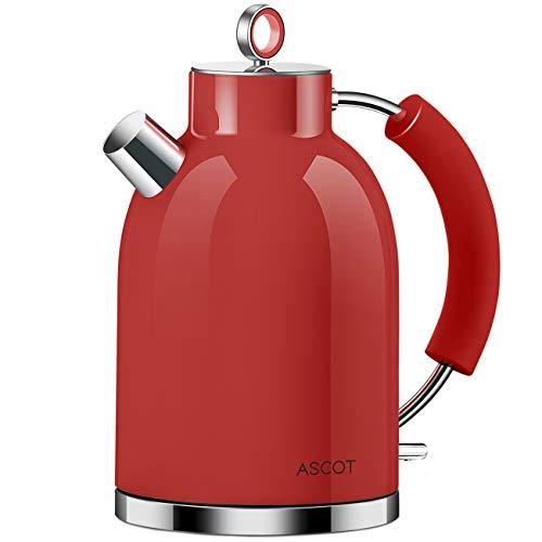 Wasserkocher Edelstahl, ASCOT Elektrischer Wasserkessel, 2200 W, 1,6 liter, Retro Design, kabelloser Teekocher, BPA frei, Trockengehschutz, automatische Abschaltung,(Rot)