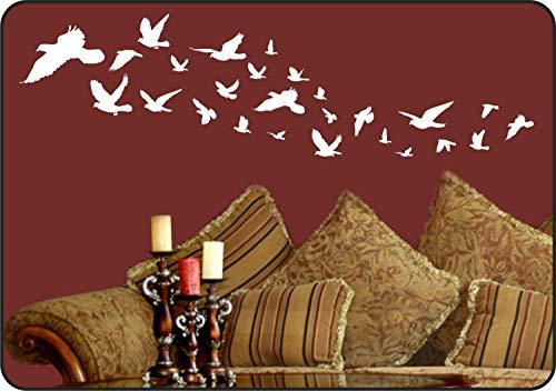 Adhesivo decorativo para pared, diseño de pájaros voladores, pájaros blancos, bandada de pájaros, pájaros en vuelo, extraíble, decoración de vinilo con texto en inglés