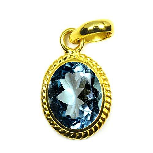 JewelryOnClick Mujer chapado en oro ovalada Natural - Azul - Topacio