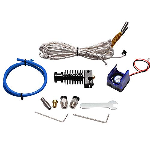 WANGZHI V6 Hotend Extruder Kit 3D Printer Parts Bowden Extruder +Cooling Fan Heater PTFE Good Tube 1.75 Filament 0.4 Nozzle (Color : Free, Size : 3.0mm full metal)