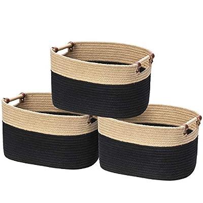 Large Rectangular Storage Baskets Bins for Organizing, 3 Set Woven Rope Jute Baby Baskets, Decorative Storage Baskets for Blankets, Nursery Baskets Organizer Bins for Baby Toys, Nursery Decor Gift