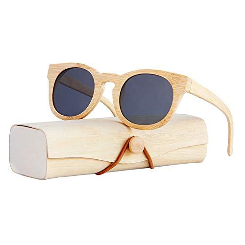 Picobao zonnebril bril Houten heren en dames zonnebril met gepolariseerde lenzen Bamboe Frame TAC lens UV400
