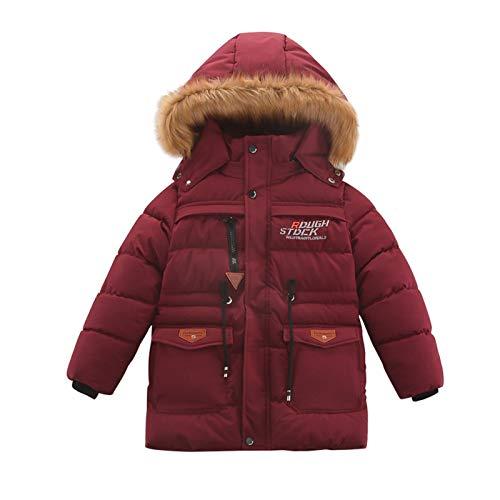 Abrigo de invierno para bebé de 5 a 11 años para niños y niñas, traje de nieve cálido con botón con cremallera con capucha y cortavientos, chaqueta de exterior De vino. 7-8 Años