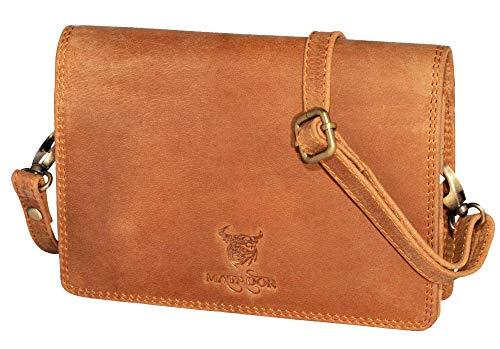 MATADOR Umhängetasche Echt Leder Bodybag Damen Handtasche mit Kartenfächer Frauen Schultertasche Ledertasche RFID Schutz Braun Tasche