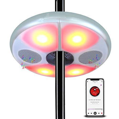 uuffoo Sonnenschirm LED Beleuchtung mit Lautsprecher Dimmbar 5 FarbenSonnenschirm Licht für Garten Strand Außenleuchten BBQ Party Camping Silber