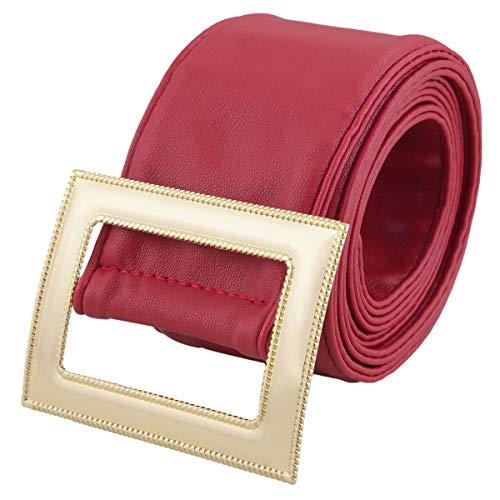 KYEYGWO - Cintura da donna regolabile in vita per abiti da donna con fibbia Fibbia rossa/quadrata. Taglia unica
