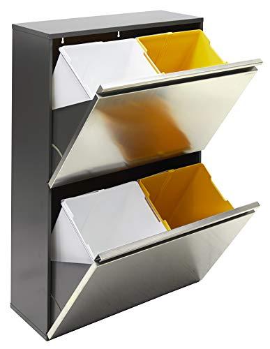 Arregui Vario CR605 Cubo de Basura y Reciclaje de Acero Inoxidable de 4 Cubos, INOX, 91.5 x 58 x 25 cm