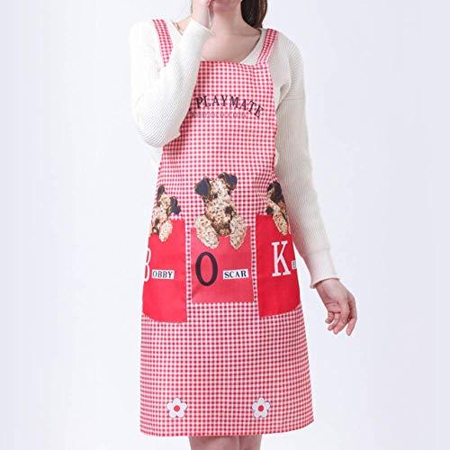 YXDZ Delantal Correa Hogar Cocina Tareas Cocina Adulto Aceite Bata Verano Coreano Moda Femenina Monos Cintura Rojo