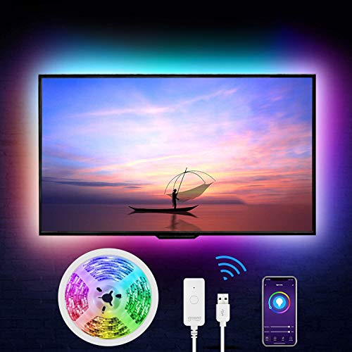 LED Strip Alexa,Gosund 2.8m USB LED TV Hintergrundbeleuchtung,APP Steuerbar 5050 RGB LED Streifen,WiFi Smart LED Band für 40-60 Zoll HDTV,PC Bildschirm,Lichtband kompatibel mit Alexa,Google Assistant