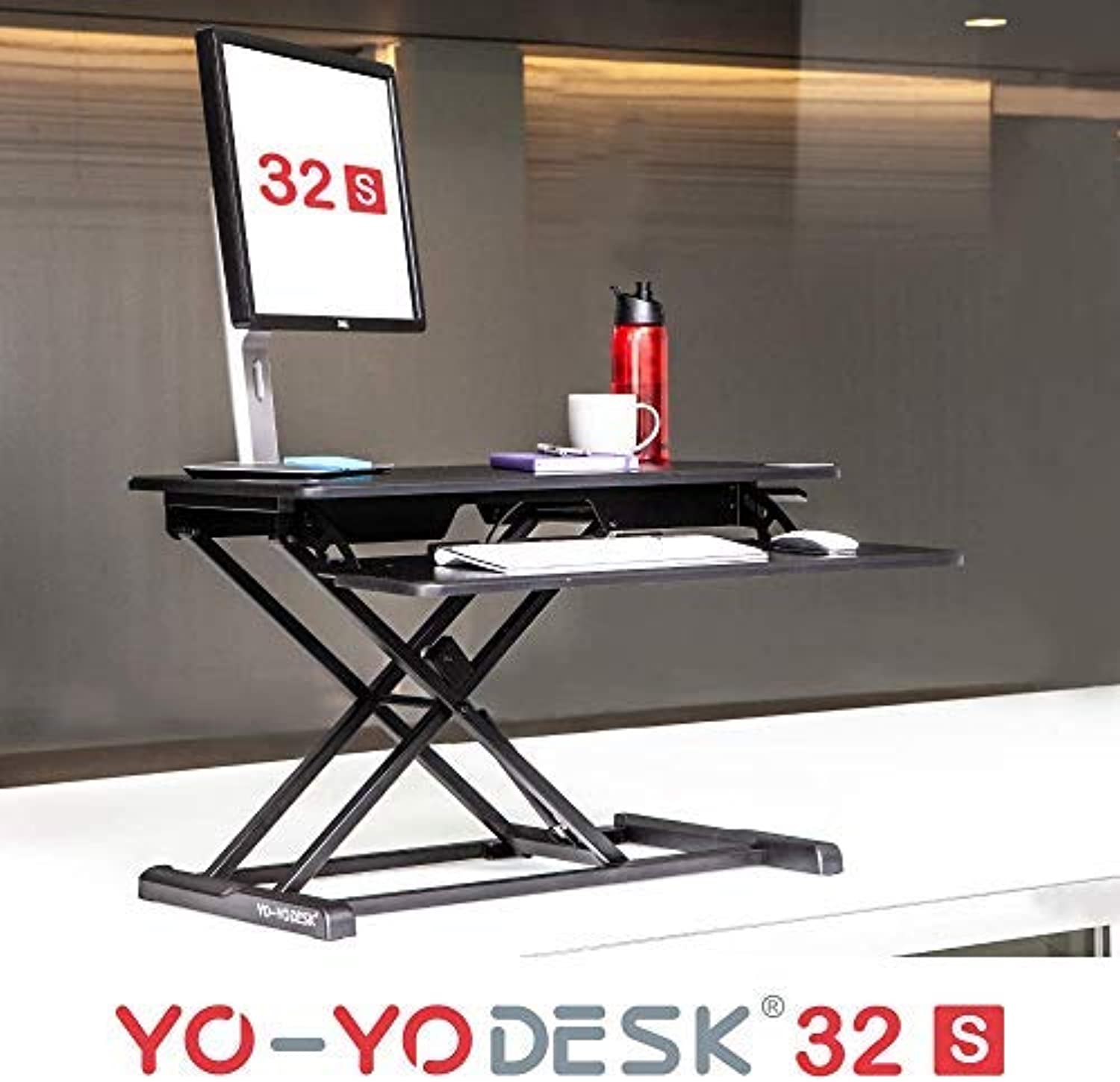 Yo-Yo DESK 32-S Slim (32  Black). Congreens Any Desk to a Standing Desk   Best-Selling Height Adjustable Standing Desk   Easy-to-Handle Slim Frame Sit-Stand Solution   Suitable for Thinner Desk Spaces