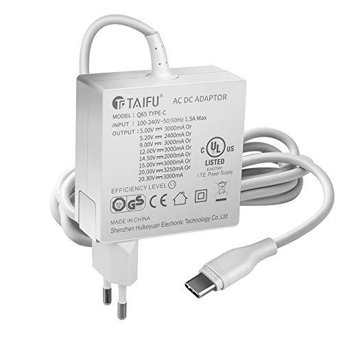 TAIFU 65W USB C Caricatore Tipo C Adattatore Notebook per Apple MacBook Pro, Lenovo, ASUS, Acer, Dell, Xiaomi Air, Huawei Matebook, HP Spectre, Thinkpad PN/ADP-65SDB ADLX65YDC3A TPN-CA06 DA65NM170