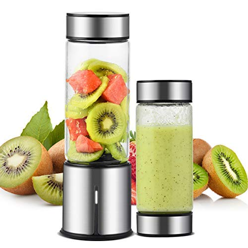 TTLIFE Smoothie Blender Smoothie Maker 450ml 2 Lid USB Rechargeable 5100mAh with 6 Stainless Steel Blades Glass Mini Blender, Perfect for Fruit,Milk Shake and Baby Food,FDA/BPA Free, Black