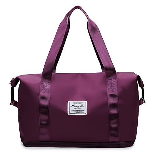 Borsa da viaggio a secco e bagnato separazione palestra borsa di espansione viaggio borsa da viaggio tessuto Oxford sport borsa viola