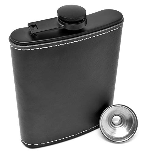 Leder-Flachmann für Spirituosen 236 ml Edelstahl, schwarzes Leder, auslaufsicherer schwarzer Flachmann mit Trichter für Männer und Frauen