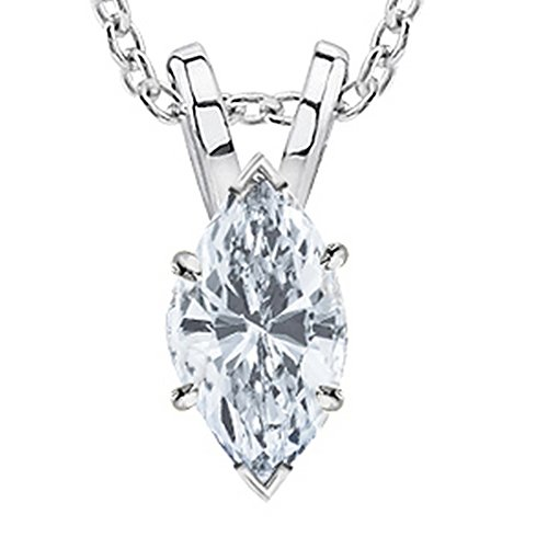 1 1/2 Carat 14K White Gold GIA Certified Marquise Cut Diamond Pendant Necklace Luxury Collection (D-E Color, VS1-VS2 Clarity) 1.5 ct 20 in gold chain