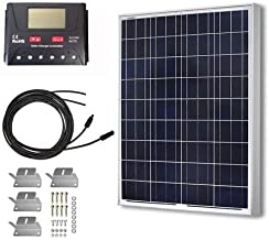 HQST 100 Watt 12 Volt Polycrystalline Solar Panel Kit with 30A PWM LCD Common Postive..