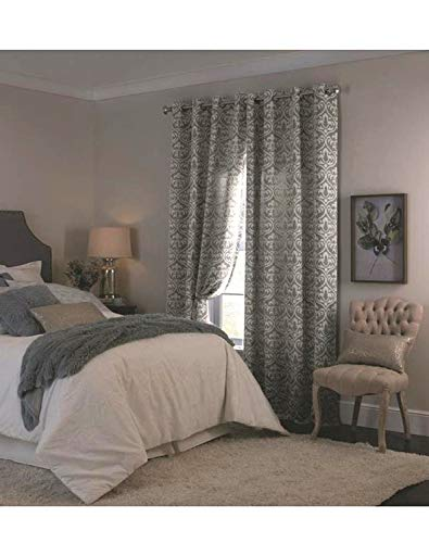 allen + roth Cecile Charcoal Polyester Room Darkening Thermal Lined Single Curtain Panel