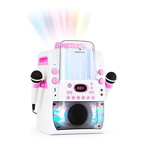 Auna Kara Liquida BT - Equipo de Karaoke, Juego de Karaoke, para niños, Efecto Luminoso LED Fuente de Agua, Puerto USB con MP3, Bluetooth, Efecto Eco y función AVC, Rosa Palo