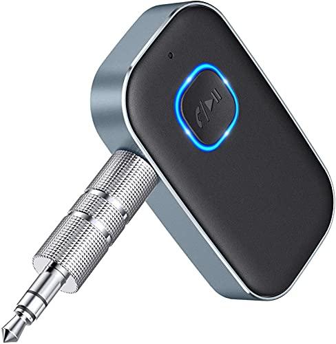 Cocoda Bluetooth Adapter Auto, Drahtloser Aux Bluetooth 5.0 Adapter mit Freisprechanrufen, Bluetooth Empfänger für Auto, Kopfhörer und Heimstereosysteme (16 Stunden Akkulaufzeit, Dual Verbindung)