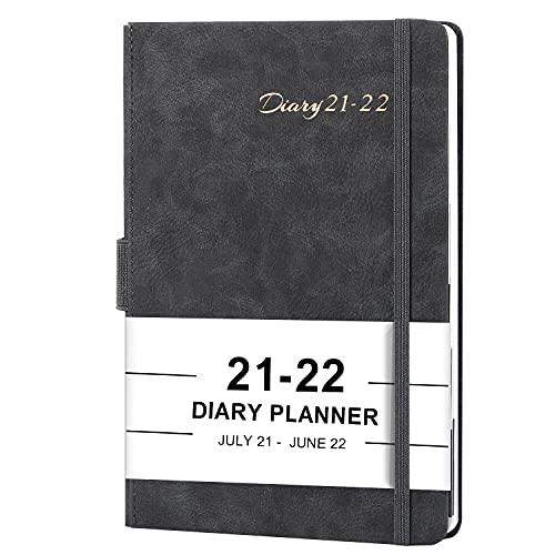 Kalender 2021 2022 A5 - Terminkalender 2021 2022, Daily Planner, Diary, Juli 2021 bis Juni 2022, Leder-Hardcover mit monatlichen Laschen und Innentasche, 14,8 cm × 21,4 cm - grau