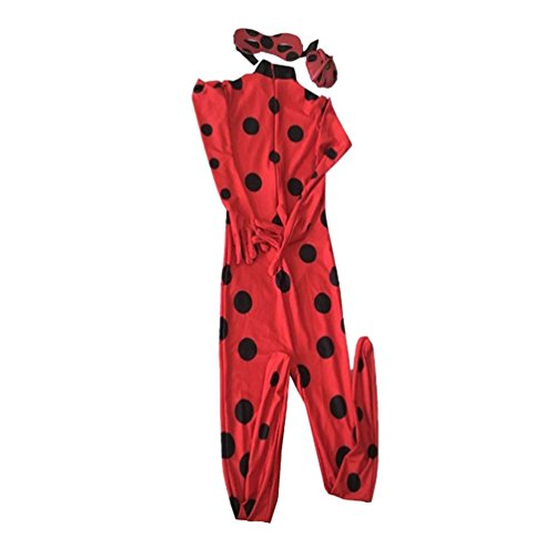 CHENGYANG Animazione Costume Travestimento Halloween Zentai Catsuit Ladybug Cosplay Bodysuit Tight Tuta Rosso S (Adulti)